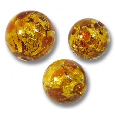 10 Murano Glass Topaz Goldfoil 8mm Round Beads