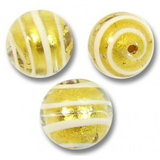1 Murano Glass White Spiral Goldfoil 10mm Round Bead