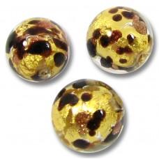 1 Murano Glass Ventunera Goldfoil 10mm Round Bead