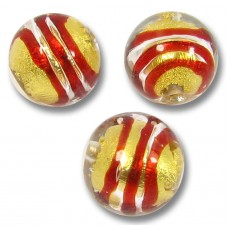 1 Murano Glass Red Spiral Goldfoil 10mm Round Bead