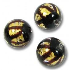 1 Murano Glass Black Zig Zag Goldfoil 10mm Round Bead