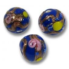 10 Murano Glass Blue Wedding Cake 8mm Round Beads