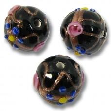 1 Murano Glass Black Wedding Cake 10mm Round Bead