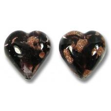 2 Murano Glass Ventopunto Black & Amethyst Aventurine 12mm Heart Beads