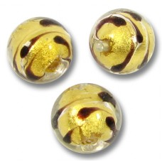 1 Murano Glass Gold Foiled Lacrima 10mm Round Bead