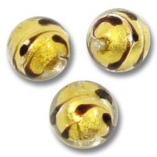 1 Murano Glass Gold Foiled Lacrima 10mm Round Bead