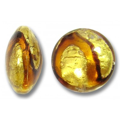 1 Murano Glass Africa Gold Foiled 14mm Lentil