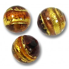 1 Murano Glass Serale Topaz Gold Band Foiled Clear 10mm Round Bead