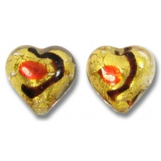 2 Murano Glass Miro Ruby Goldfoiled 12mm heart beads