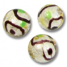 1 Murano Glass Gold and Silver Foil Harlequin 10mm Round Bead