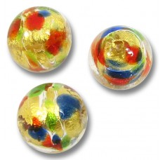 1 Murano Glass Arlecchino Goldfoiled Multicoloured 10mm Round Bead