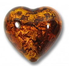 1 Murano Glass Topaz Goldfoil 16mm Heart Bead