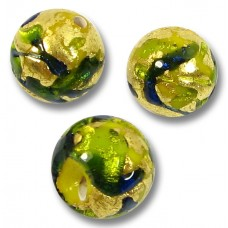 1 Murano Glass Verde Blue Goldfoil 10mm Round Bead