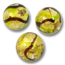 1 Murano Glass Goldfoiled Etnico 10mm Round Bead