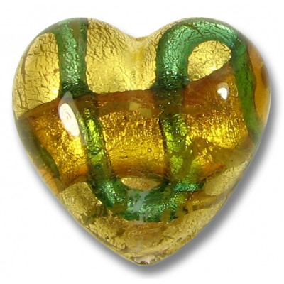 1 Murano Glass Aurora Lime Goldfoiled 20mm Heart Bead