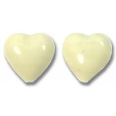 2 Murano Glass Cream 12mm Heart Beads