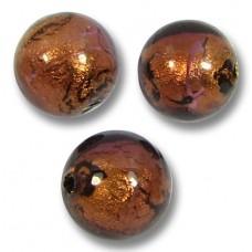 10 Murano Glass Dark Chocolate Amethyst Goldfoil 10mm Round Beads