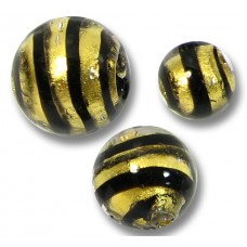 10 Murano Glass Black Spiral Goldfoil Round 8mm Beads