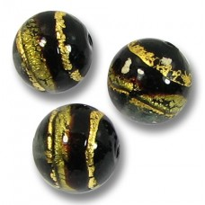 10 Murano Glass Black Gold Foiled Band 10mm Round Beads