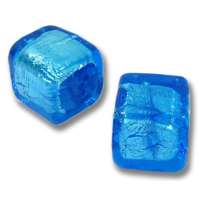 1 Murano Glass Dark Aquamarine Silver foil 10mm Cube Bead