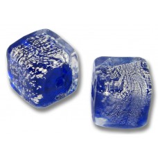 1 Murano Glass Sapphire Crackle Silverfoil 10mm Cube Bead