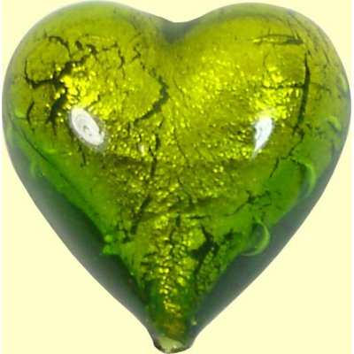 1 Murano Glass Medium Erba Goldfoil 18mm Heart Bead