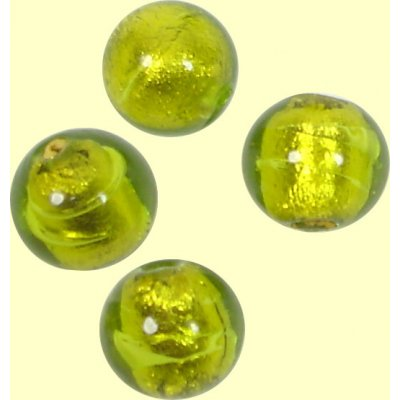 10 Murano Glass Gold Foil Light Erba 8mm Round Beads