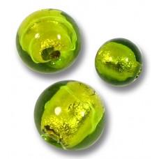 10 Murano Glass Gold Foil Light Erba (Lime) 8mm Round Beads