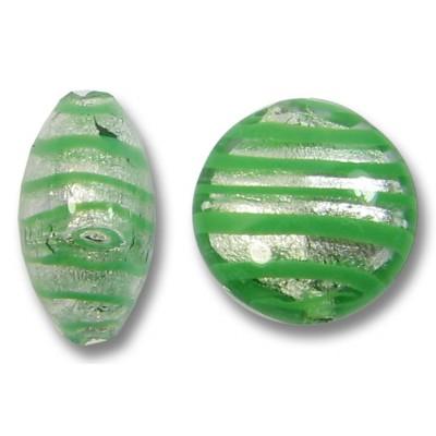 1 Murano Glass Spiral Verde Silverfoil 12mm Lentil Bead