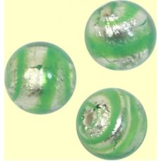 10 Murano Glass Spiral Verde Silverfoil 8mm Round Beads