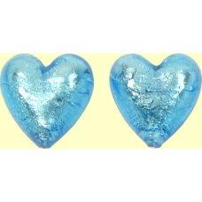 2 Murano Glass Medium Aquamarine Silverfoil 14mm Heart Beads