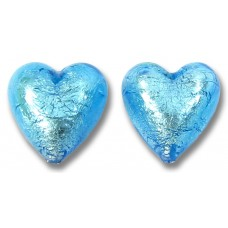 2 Murano Glass Medium Aquamarine Silverfoil 14mm Heart Beads