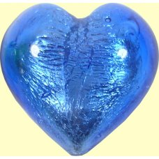 1 Murano Glass Sapphire Silver Foiled 28mm Heart