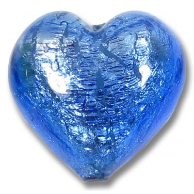 1 Murano Glass Sapphire Silver Foiled 28mm Heart