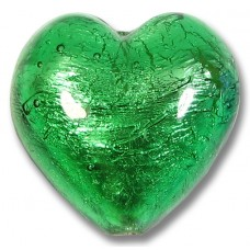 1 Murano Glass Emerald Silver Foiled 28mm Heart