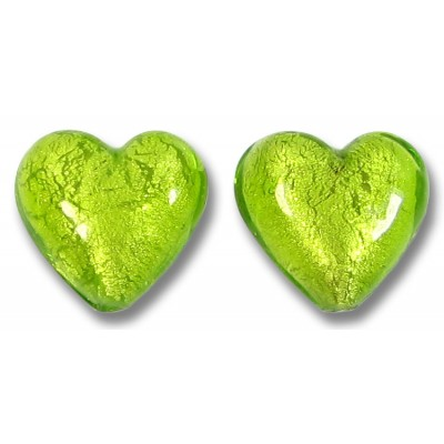Pair Murano Glass Lime White Gold Foiled 14mm Heart Beads