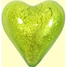 1 Murano Glass Lime White Gold Foiled 20mm Heart Bead