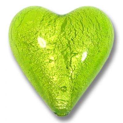 1 Murano Glass Light Erba (Lime) White Gold Foiled 20mm Heart Bead