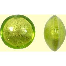 1 Murano Glass Lime White Gold Foiled 14mm Lentil Bead