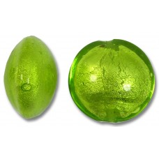 1 Murano Glass Lime White Gold Foiled 14mm Lentil Bead