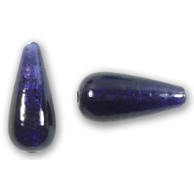 1 Murano Glass Dark Purple Velvet White Gold Foiled Drop Bead