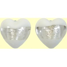 2 Murano Glass Clarity White Silver Foiled 16mm Heart Beads