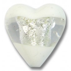 1 Murano Glass Clarity White Silver Foiled 20mm Heart Bead