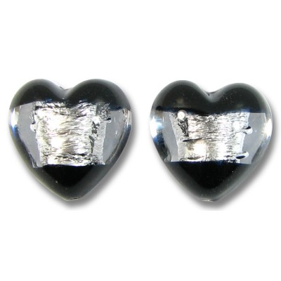 2 Murano Glass Clarity Jet Black Silver Foiled 16mm Heart Beads