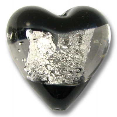 1 Murano Glass Clarity Jet Black Silver Foiled 20mm Heart Bead