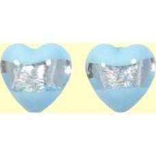 2 Murano Glass Clarity Aquamarine Silver Foiled 16mm Heart Beads