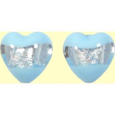 2 Murano Glass Clarity Aquamarine Silver Foiled 16mm Heart Beads