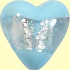 1 Murano Glass Clarity Aquamarine Silver Foiled 20mm Heart Bead