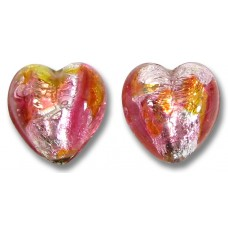 2 Murano Glass Sunset White Gold Foiled 14mm Hearts