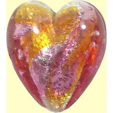 1 Murano Glass Sunset White Gold Foiled 20mm Heart